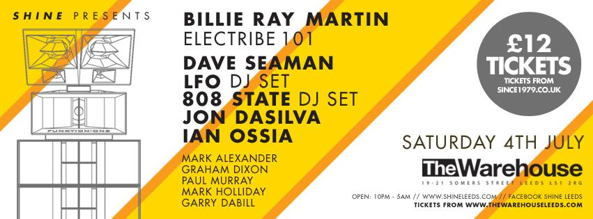 SHINE presents Billie Ray Martin (Electribe 101 - Live